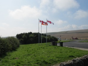 The St George's Cross on one side of the A1