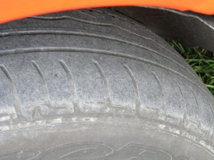 Nearside front tyre, 'Trinity' campervan