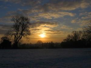 A snowy Hogmanay sunrise
