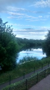 The river and path at twilight