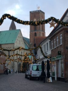 Christmas decorations in the medieval streets around RIbe Cathedral
