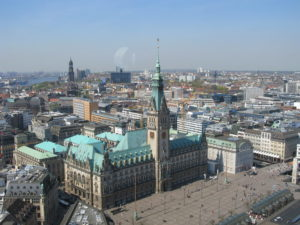 The Rathaus and Hambrg city centre from the top of St Petri