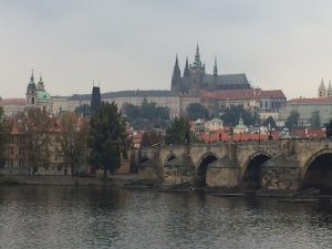 Across Charles Bridge towards St Vitus Cathedral: still impressive, despite the drizzle