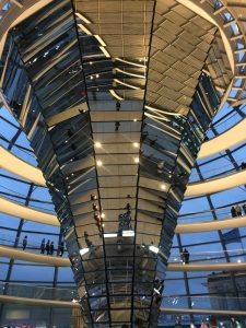 The spectacular interior of the Reichstag Dome