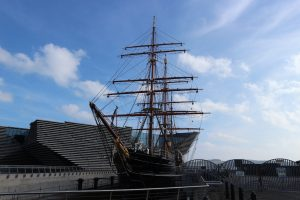 HMS Discovery docked next to the stunning new V&A Dundee
